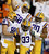 LSU running back Jeremy Hill (33) celebrates with teammates after he scored a touchdown during the first half of the Chick-fil-A Bowl NCAA college football game against Clemson, Monday, Dec. 31, 2012, in Atlanta. (AP Photo/David Goldman)