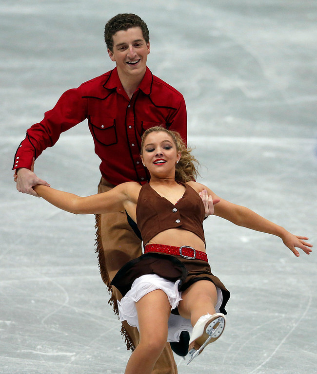 Description of . Danielle Obrien and Gregory Merriman of Australia perform during the ice dance short dance event at the ISU Four Continents Figure Skating Championships in Osaka, western Japan, Friday, Feb. 8, 2013. (AP Photo/Shizuo Kambayashi)