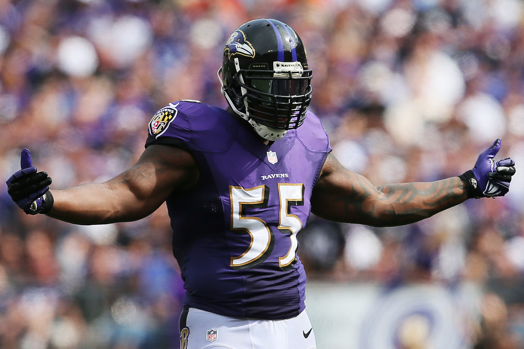 Description of . Outside linebacker Terrell Suggs #55 of the Baltimore Ravens motions to the crowd during the second half of the Ravens 14-6 win over the Cleveland Browns at M&T Bank Stadium on September 15, 2013 in Baltimore, Maryland.  (Photo by Rob Carr/Getty Images)