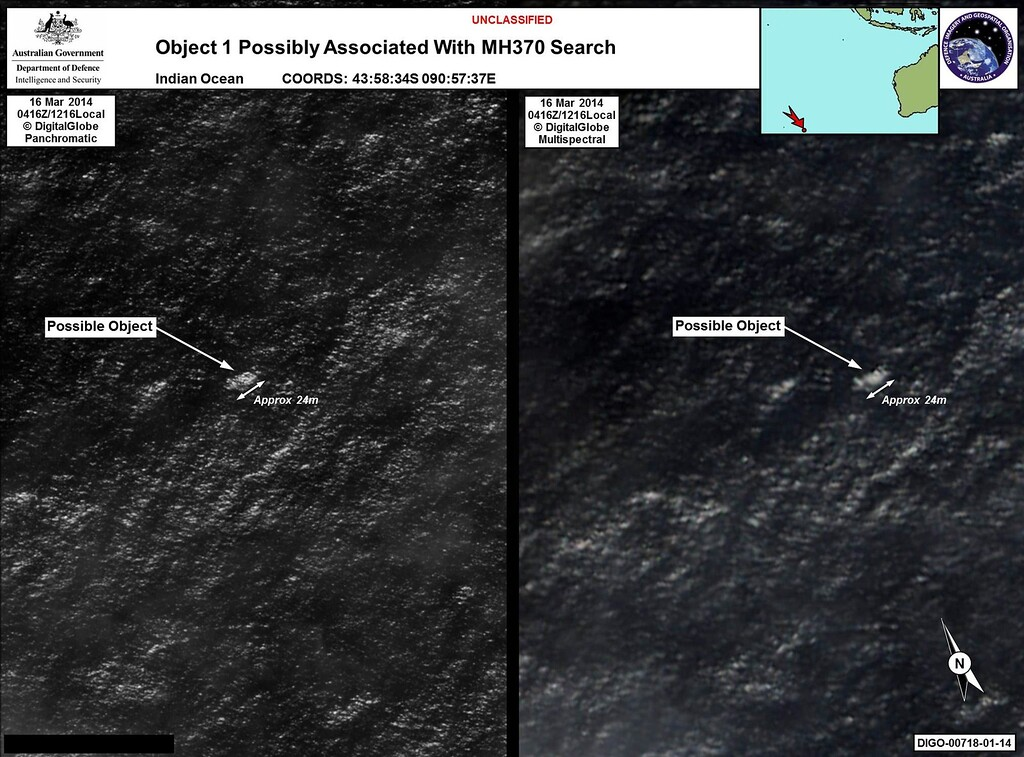 Description of . This combo of handout images taken by satellite image provider DigitalGlobe on March 16, 2014 and released on March 20, 2014 by the Australian Government's Department of Defense via the Australian Maritime Safety Authority show satelite images of objects in the Indian Ocean which may be from missing Malaysia Airlines flight MH370 which disappeared en route to Beijing early on March 8.  Australia said on March 20 that the two objects -- the largest estimated at 24 metres (79 feet) long -- spotted in the Indian Ocean were the