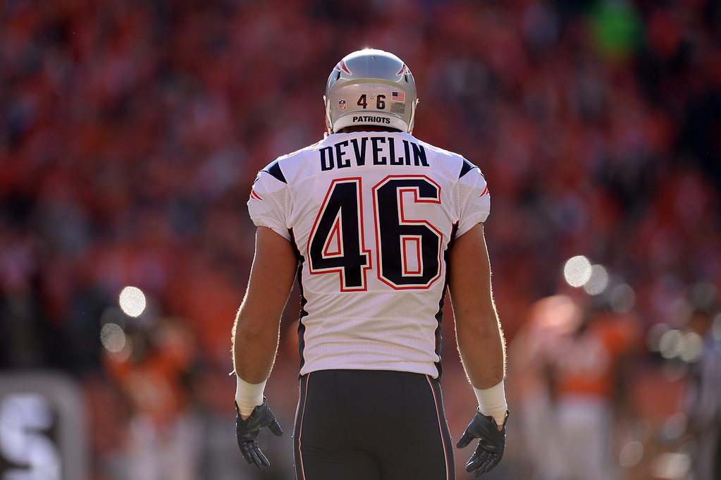 Description of . New England Patriots fullback James Develin (46) before the start of the game. The Denver Broncos take on the New England Patriots in the AFC Championship game at Sports Authority Field at Mile High in Denver on January 19, 2014. (Photo by Hyoung Chang/The Denver Post)