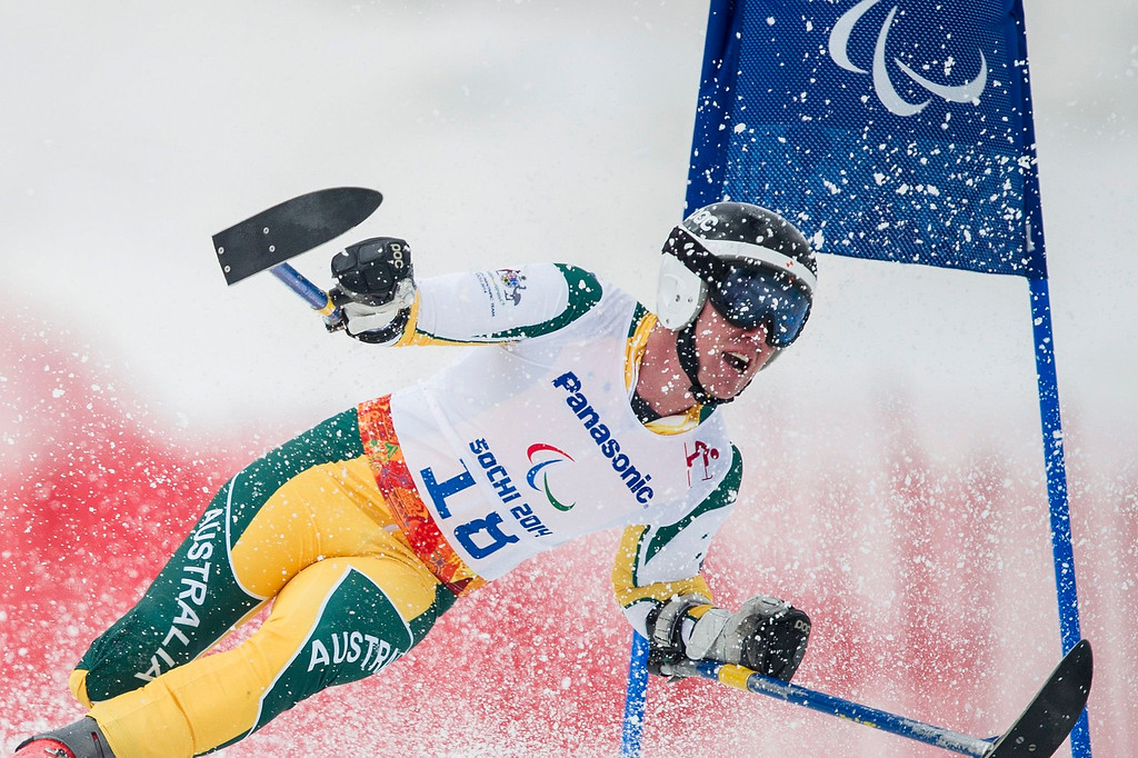 Description of . Toby Kane of Australia competes in the men's super-G standing race at the Winter Paralympics 2014 Sochi in Krasnaya Polyana, Russia, on March 9, 2014.  EPA/ENNIO LEANZA