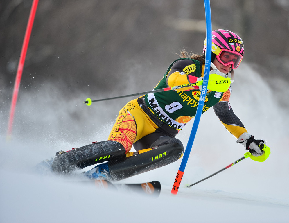 . Marie-Michele Gagnon of Canada competes during first run of the FIS women\'s World Cup slalom in Maribor on January 27, 2013.    Jure Makovec/AFP/Getty Images