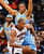 Al Horford #15 of the Atlanta Hawks drives against Anthony Randolph #15 of the Denver Nuggets at Philips Arena on December 5, 2012 in Atlanta, Georgia.  (Photo by Kevin C. Cox/Getty Images)