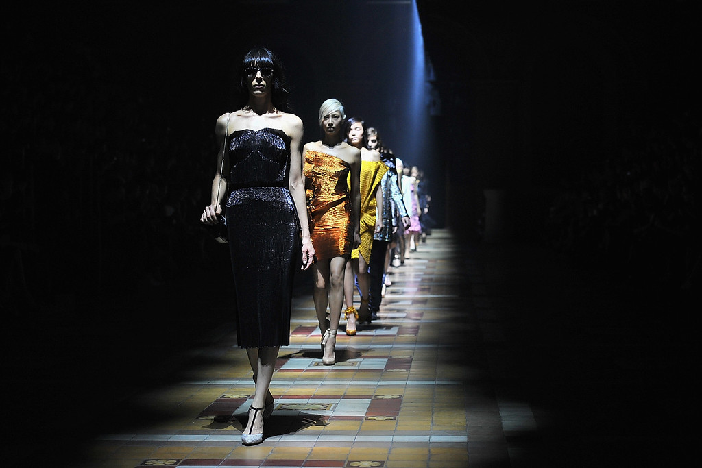 Description of . PARIS, FRANCE - SEPTEMBER 26:  Models walk the runway during Lanvin show as part of the Paris Fashion Week Womenswear  Spring/Summer 2014 on September 26, 2013 in Paris, France.  (Photo by Dominique Charriau/Getty Images)