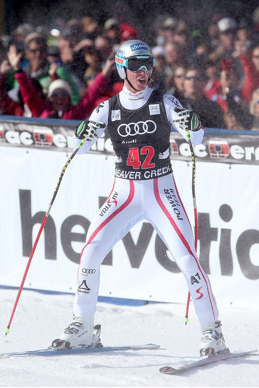 Description of . Florian Scheiber #42 of Austria celebrates after he crosses the finish line during the men's downhill on the Birds of Prey at the Audi FIS World Cup on November 30, 2012 in Beaver Creek, Colorado.  (Photo by Matthew Stockman/Getty Images)