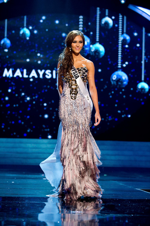 Description of . Miss Malaysia 2012 Kimberley Leggett competes in an evening gown of her choice during the Evening Gown Competition of the 2012 Miss Universe Presentation Show in Las Vegas, Nevada, December 13, 2012. The Miss Universe 2012 pageant will be held on December 19 at the Planet Hollywood Resort and Casino in Las Vegas. REUTERS/Darren Decker/Miss Universe Organization L.P/Handout