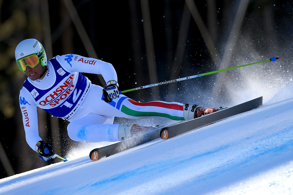 Description of . Matteo Marsaglia of Italy skis to first place in the men's Super G on the Birds of Prey at the Audi FIS World Cup on December 1, 2012 in Beaver Creek, Colorado.  (Photo by Doug Pensinger/Getty Images)