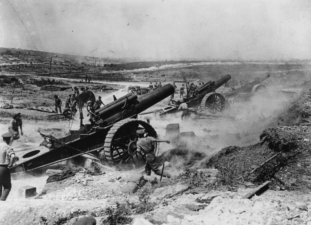 Description of . Battle of the Somme, France. The 39th Siege Battery artillery in action in the Fricourt-Mametz Valley.   (Photo by Hulton Archive/Getty Images)