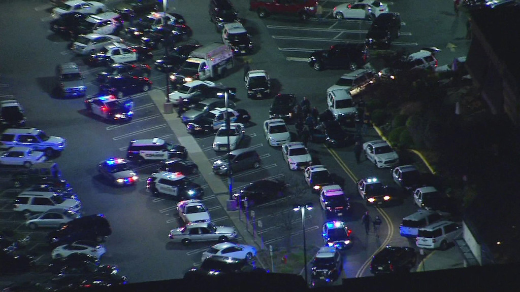 Description of . In this image provided by News 12 New Jersey, authorities converge on Garden State Plaza Mall, late Monday, Nov. 4, 2013, in Paramus, N.J., after there were reports of multiple shots being fired inside the mall. (AP Photo/News 12 New Jersey)