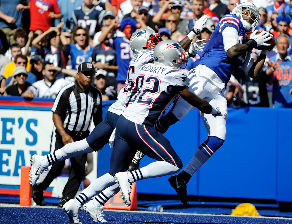 Description of . Buffalo Bills wide receiver Steve Johnson (13) catches a pass for a touchdown over New England Patriots free safety Devin McCourty (32) and Kyle Arrington during the second half of an NFL football game on Sunday, Aug. 8, 2013, in Orchard Park. (AP Photo/Gary Wiepert)