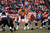 Denver Broncos quarterback Peyton Manning (18) calls plays at the line in the second quarter. The Denver Broncos vs Baltimore Ravens AFC Divisional playoff game at Sports Authority Field Saturday January 12, 2013. (Photo by Joe Amon,/The Denver Post)