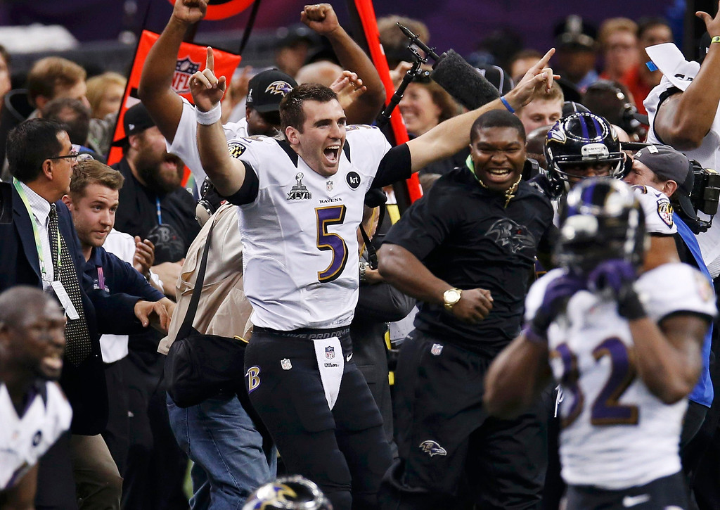 Description of . Baltimore Ravens quarterback Joe Flacco celebrates as the Ravens defeat the San Francisco 49ers to win the NFL Super Bowl XLVII football game in New Orleans, Louisiana, February 3, 2013.  REUTERS/Jim Young