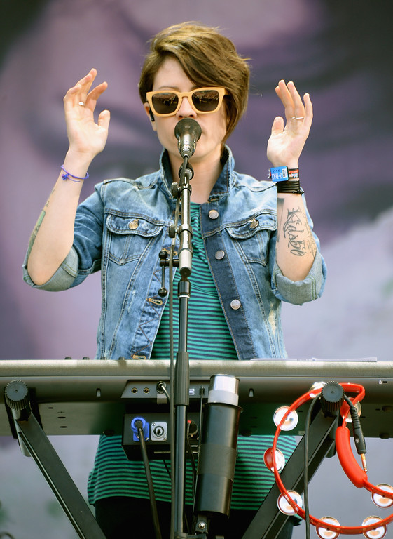 Description of . Tegan Rain Quin of Tegan and Sara performs during Lollapalooza 2013 at Grant Park on August 4, 2013 in Chicago, Illinois.  (Photo by Theo Wargo/Getty Images)