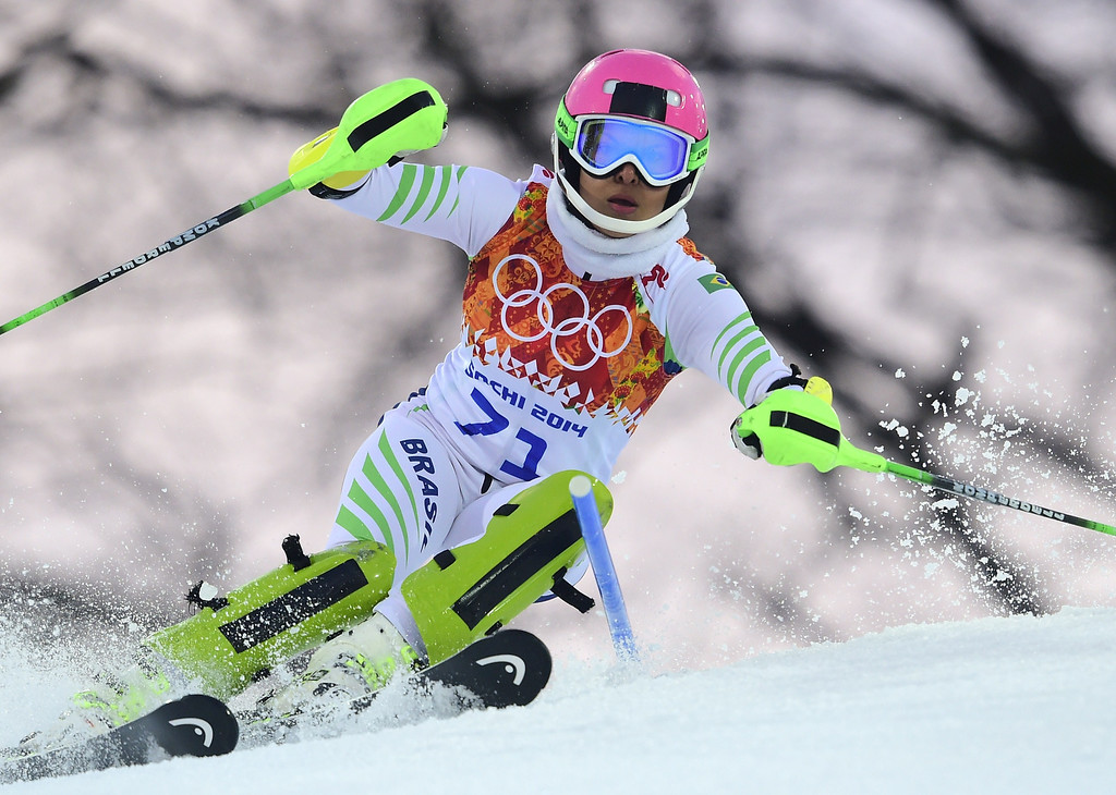 Description of . Brazil's Maya Harrisson competes during the Women's Alpine Skiing Slalom Run 1 at the Rosa Khutor Alpine Center during the Sochi Winter Olympics on February 21, 2014.          AFP PHOTO / OLIVIER MORIN/AFP/Getty Images