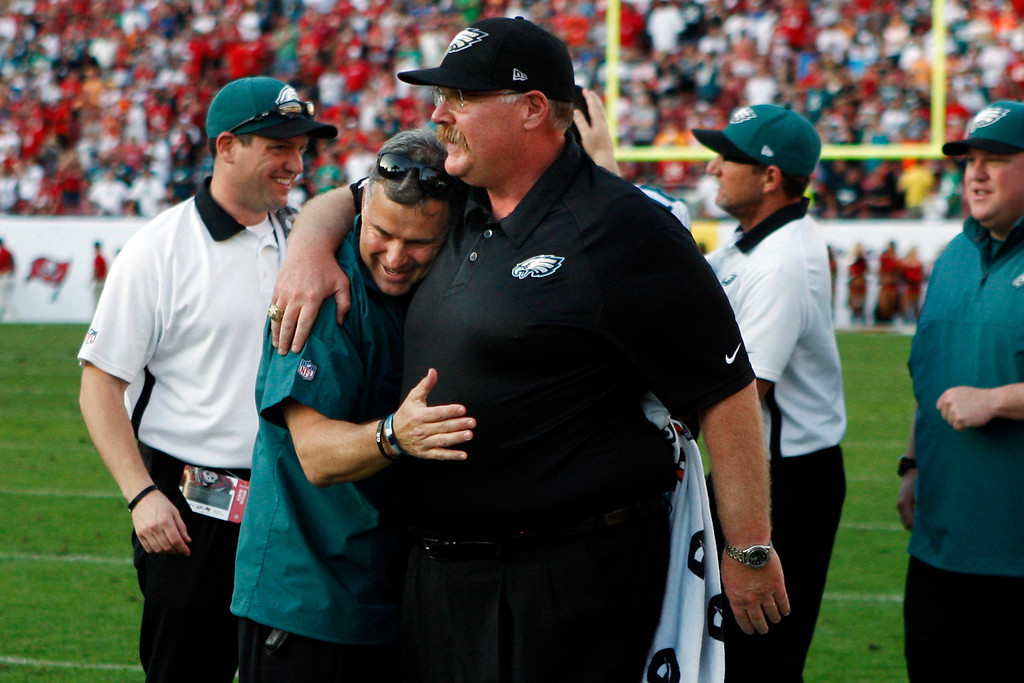 Description of . Philadelphia Eagles head coach Andy Reid is hugged by head athletic trainer Rick Burkholder after the team's final touchdown drive against the Tampa Bay Buccaneers during the fourth quarter of their NFL football game, Sunday, Dec. 9, 2012, in Tampa, Fla. The Eagles won 23-21. (AP Photo/The Philadelphia Inquirer, Ron Cortes)