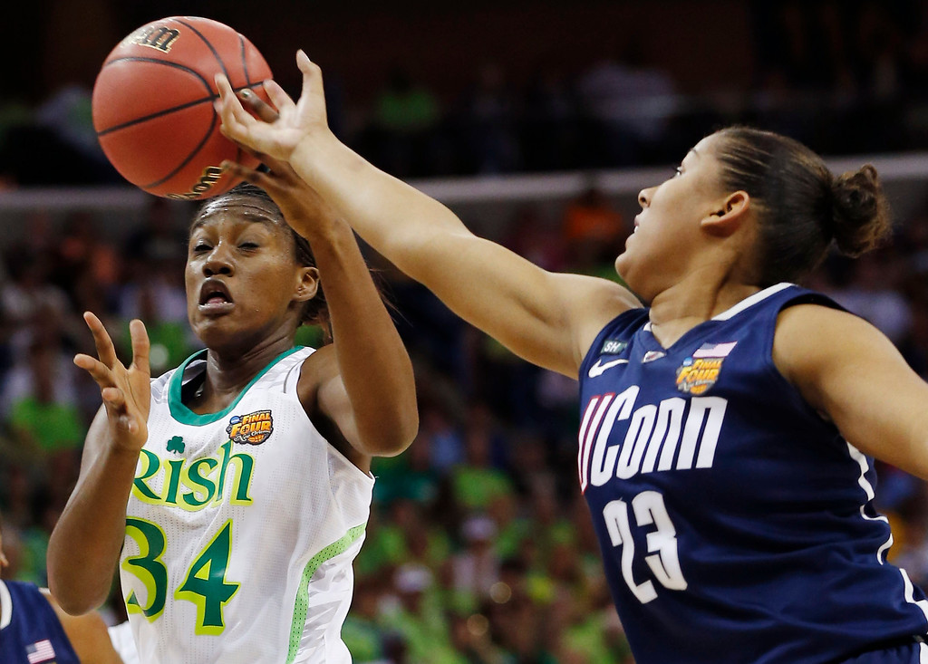 Description of . Notre Dame forward Markisha Wright (34) and Connecticut forward Kaleena Mosqueda-Lewis (23) reach for a rebound in the first half of the women\'s NCAA Final Four college basketball tournament semifinal, Sunday, April 7, 2013, in New Orleans. (AP Photo/Dave Martin)