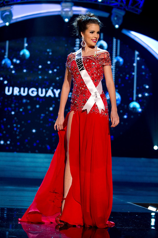 Description of . Miss Uruguay Camila Vezzoso competes in an evening gown of her choice during the Evening Gown Competition of the 2012 Miss Universe Presentation Show at PH Live in Las Vegas, Nevada December 13, 2012. The 89 Miss Universe Contestants will compete for the Diamond Nexus Crown on December 19, 2012. REUTERS/Darren Decker/Miss Universe Organization/Handout