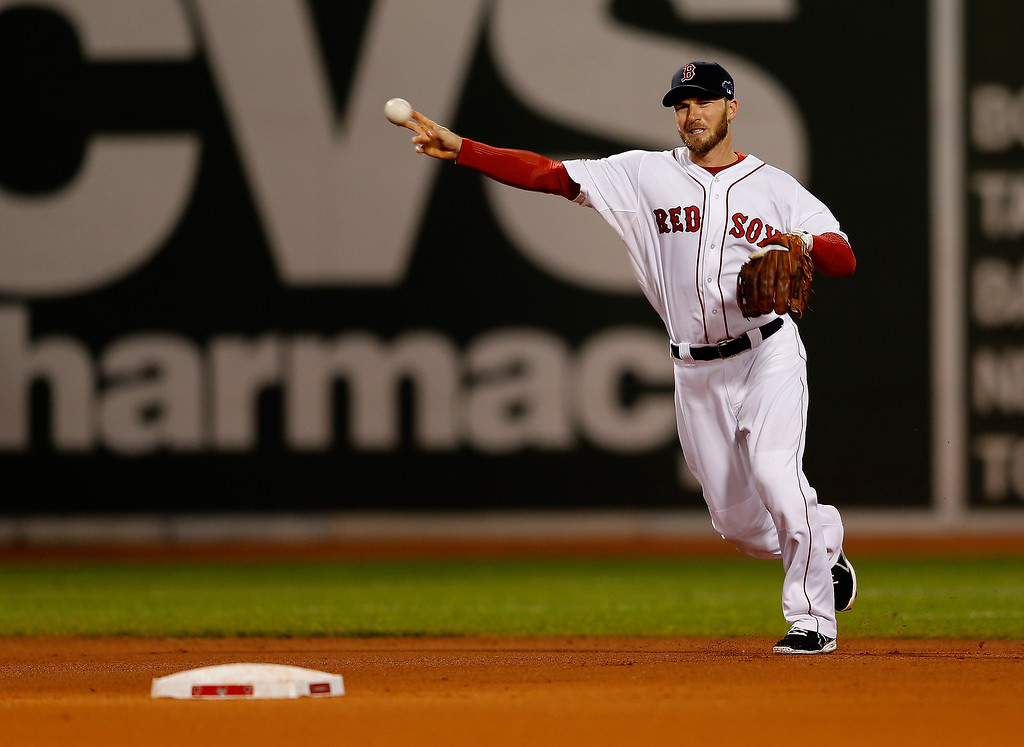 Description of . Stephen Drew #7 of the Boston Red Sox throws to first base for an out in the first inning against the Detroit Tigers during Game Two of the American League Championship Series at Fenway Park on October 13, 2013 in Boston, Massachusetts.  (Photo by Jim Rogash/Getty Images)