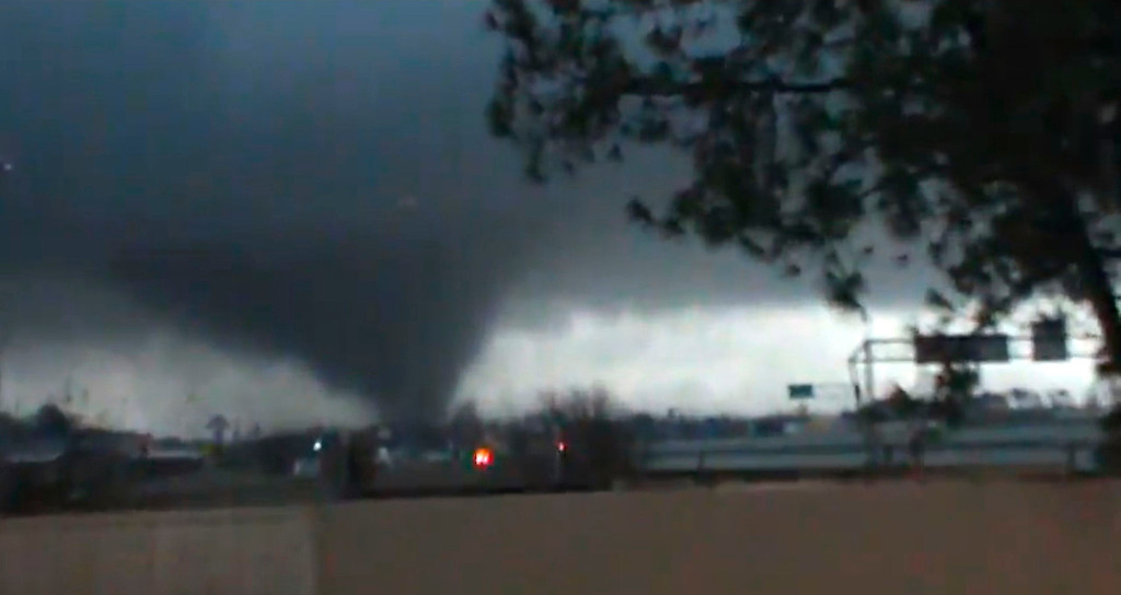 Description of . A tornado is pictured near Hattiesburg, Mississippi in this still image from a video shot on February 10, 2013. The tornado, which touched down at approximately 5:30 p.m. local time, was reported to have injured three people and caused damage to the nearby campus of the University of Southern Mississippi.    REUTERS/Rynal Grant/Handout