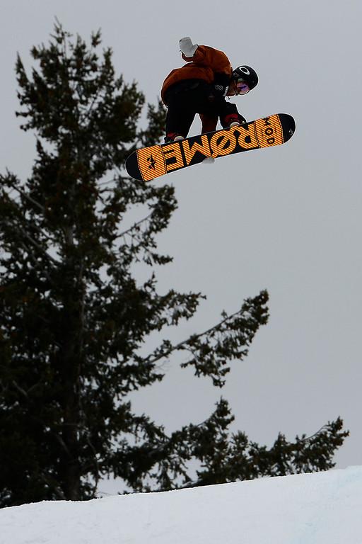 Description of . ASPEN, CO. - JANUARY 24: Stale Sandbech hits a jump during the men's Snowboard Slopestyle elimination. Men's Snowboard Slopestyle elimination X Games Aspen Buttermilk Mountain Aspen January 24, 2013. (Photo By AAron Ontiveroz / The Denver Post)