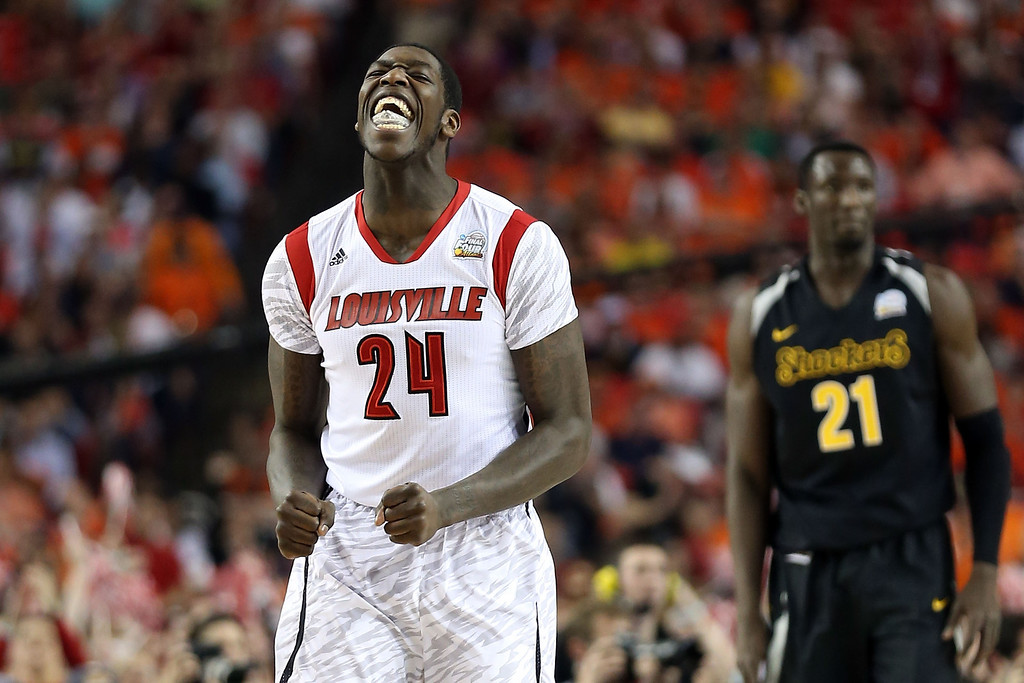 Description of . ATLANTA, GA - APRIL 06:  Montrezl Harrell #24 of the Louisville Cardinals reacts in the first half against the Wichita State Shockers during the 2013 NCAA Men's Final Four Semifinal at the Georgia Dome on April 6, 2013 in Atlanta, Georgia.  (Photo by Andy Lyons/Getty Images)