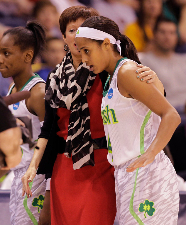 Description of . Notre Dame head coach Muffet McGraw talks with Notre Dame guard Skylar Diggins (4) during a regional semi-final of the NCAA college basketball tournament  Sunday, March 31, 2013 in Norfolk, Va.  (AP Photo/Steve Helber)