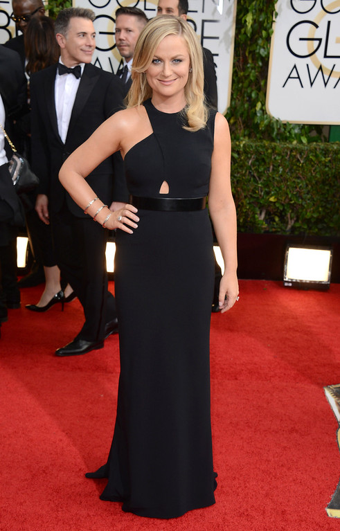 Description of . Amy Poehler arrives at the 71st annual Golden Globe Awards at the Beverly Hilton Hotel on Sunday, Jan. 12, 2014, in Beverly Hills, Calif. (Photo by Jordan Strauss/Invision/AP)