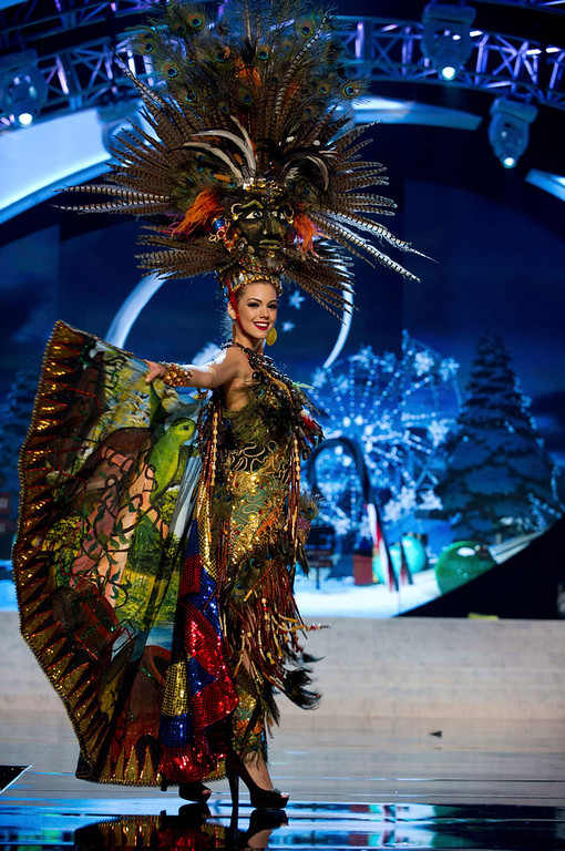 Description of . Miss Ecuador Carolina Andrea Aguirre Perez performs onstage at the 2012 Miss Universe National Costume Show at PH Live in Las Vegas, Nevada December 14, 2012. The 89 Miss Universe Contestants will compete for the Diamond Nexus Crown on December 19, 2012. REUTERS/Darren Decker/Miss Universe Organization/Handout