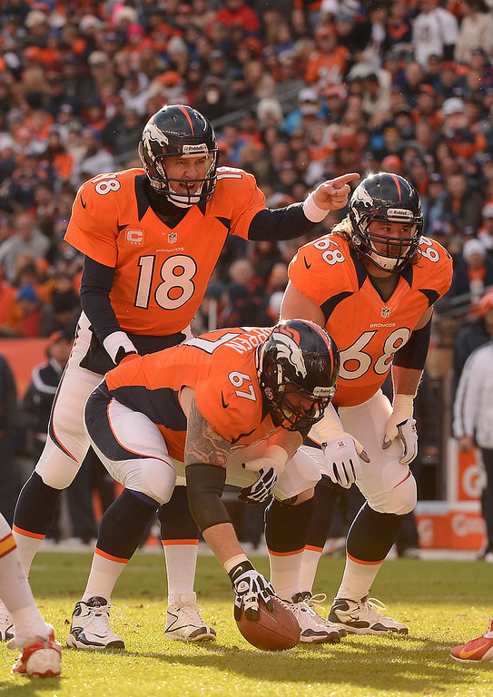 Description of . Denver Broncos quarterback Peyton Manning (18) calls a play from the line in the first quarter as the Denver Broncos took on the Kansas City Chiefs at Sports Authority Field at Mile High in Denver, Colorado on December 30, 2012. John Leyba, The Denver Post