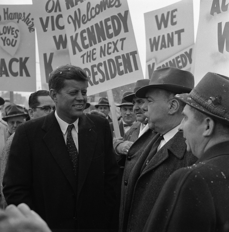 Description of . Sen. Kennedy arrives in Nashua, N.H., to kick off his campaign tour through the Granite State. Frank Curtin, Associated Press file