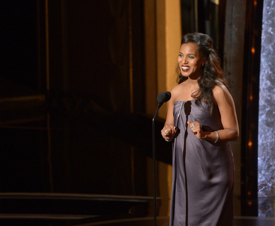 Description of . Kerry Washington speaks during the Oscars at the Dolby Theatre on Sunday, March 2, 2014, in Los Angeles.  (Photo by John Shearer/Invision/AP)