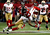 Wide receiver Roddy White #84 of the Atlanta Falcons catches a pass as he is hit by free safety Dashon Goldson #38 of the San Francisco 49ers in the first quarter in the NFC Championship game at the Georgia Dome on January 20, 2013 in Atlanta, Georgia.  (Photo by Chris Graythen/Getty Images)