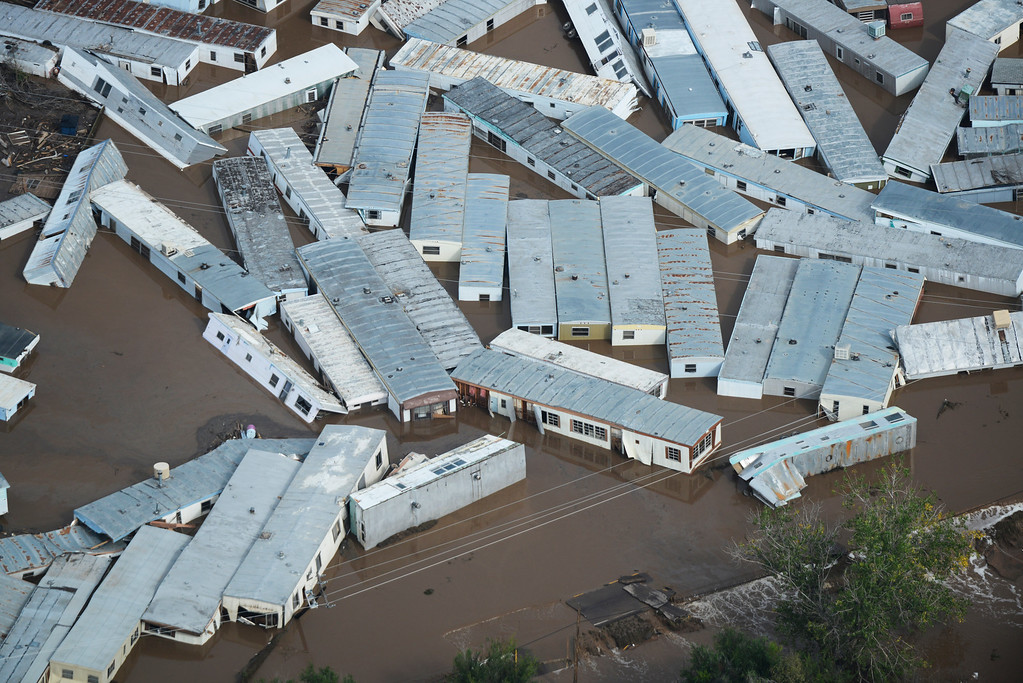 Description of . A trailer home storage lot now with floating trailers after recent flooding in Weld County Colorado Saturday morning, September 14, 2103. (Photo By Andy Cross/The Denver Post)