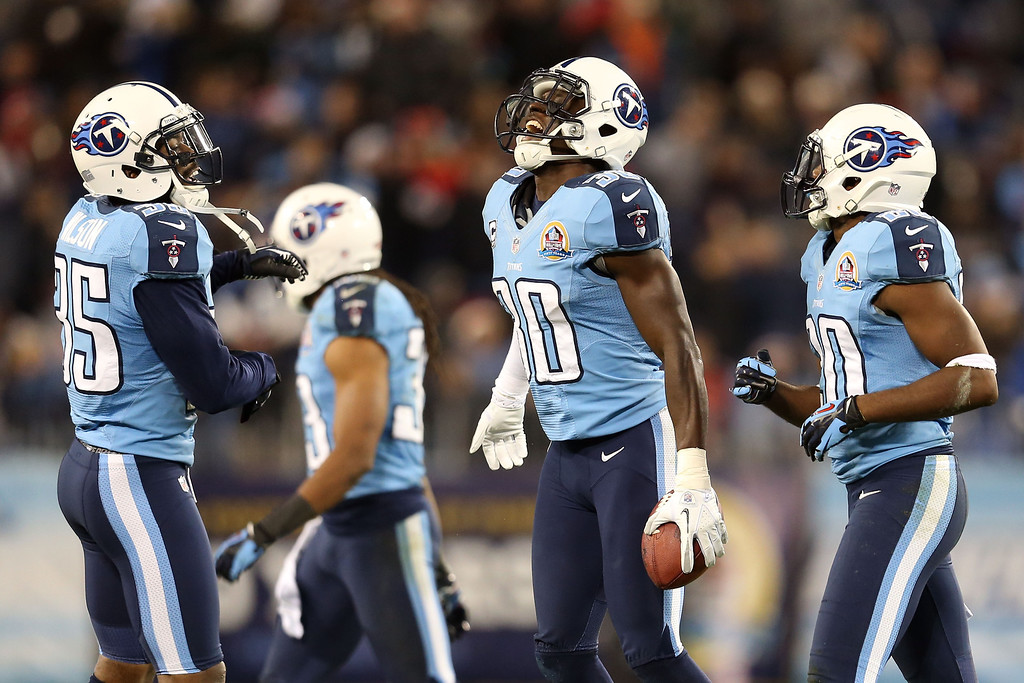 Description of . NASHVILLE, TN - DECEMBER 17:  Cornerback Jason McCourty #30 of the Tennessee Titans celebrates after an interception against quarterback Mark Sanchez #6 of the New York Jets at LP Field on December 17, 2012 in Nashville, Tennessee.  (Photo by Andy Lyons/Getty Images)