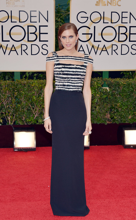 Description of . Allison Williams arrives at the 71st annual Golden Globe Awards at the Beverly Hilton Hotel on Sunday, Jan. 12, 2014, in Beverly Hills, Calif. (Photo by John Shearer/Invision/AP)