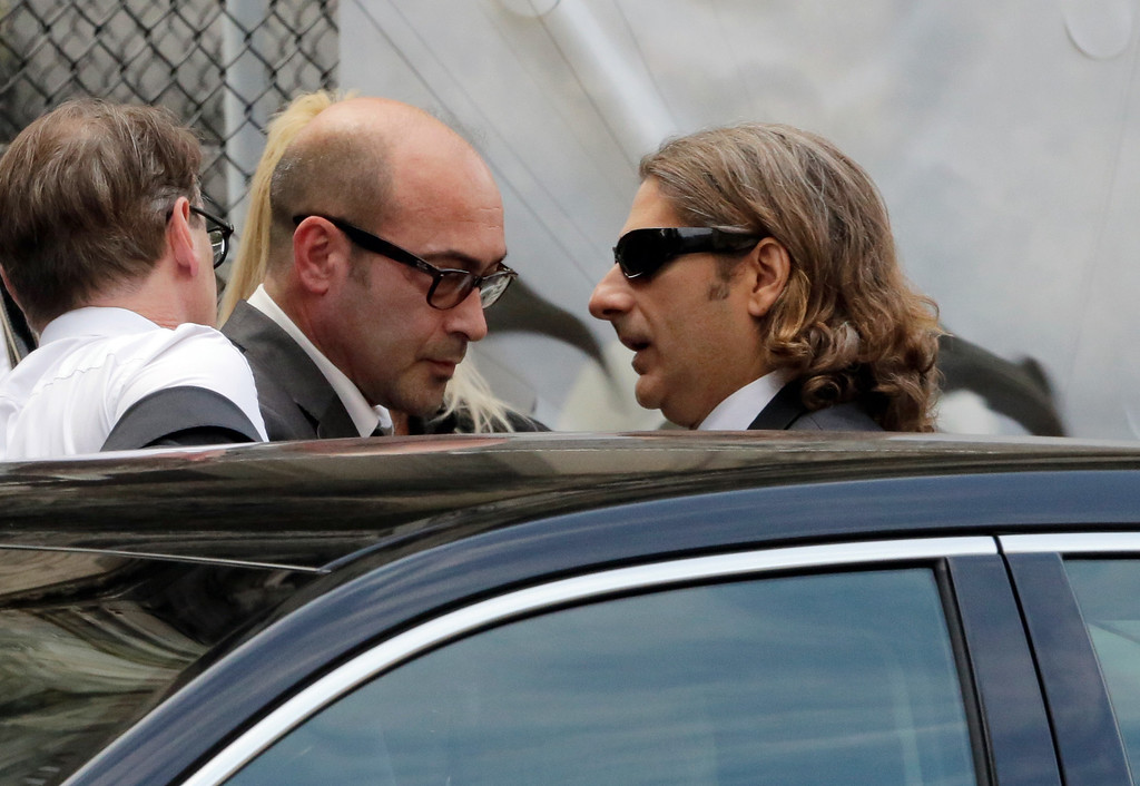 """. Actors John Ventimiglia, left, and Michael Imperioli arrive for the funeral service of James Gandolfini, star of \""""The Sopranos,\"""" in New York\'s the Cathedral Church of Saint John the Divine,  Thursday, June 27, 2013. (AP Photo/Richard Drew)"""