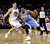 Denver Nuggets' Andre Iguodala (9) is defended by Golden State Warriors' Klay Thompson during the first half of an NBA basketball game in Oakland, Calif., Thursday, Nov. 29, 2012. (AP Photo/Marcio Jose Sanchez)