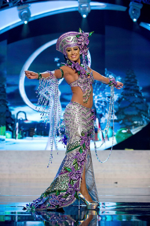 Description of . Miss Costa Rica Nazareth Cascante performs onstage at the 2012 Miss Universe National Costume Show at PH Live in Las Vegas, Nevada December 14, 2012. The 89 Miss Universe Contestants will compete for the Diamond Nexus Crown on December 19, 2012. REUTERS/Darren Decker/Miss Universe Organization/Handout