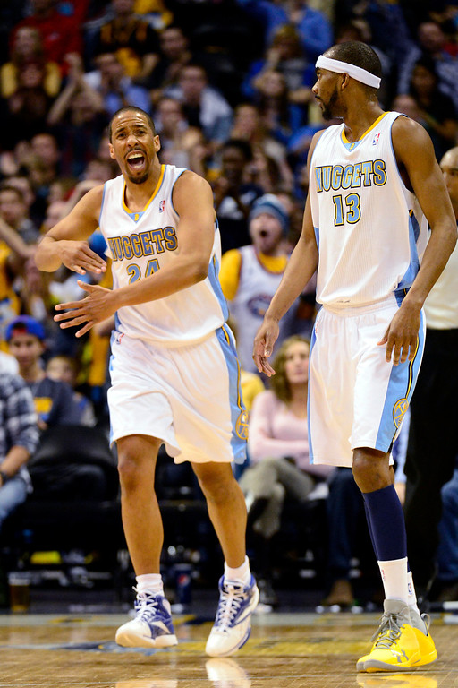 Description of . Denver Nuggets point guard Andre Miller (24) reacts to hitting a shot against the Golden State Warriors during the second half of the Nuggets' 116-105 win at the Pepsi Center on Sunday, January 13, 2013. AAron Ontiveroz, The Denver Post