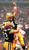 Green Bay Packers quarterback Brett Favre (C) is hoisted in the air by teammate Jeff Thomason (L) after Favre ran for a touchdown to give Green Bay a 27-14 lead over the New England Patriots in the second quarter of Super Bowl XXXI at the Louisiana Superdome in New Orleans, Louisiana 26 January. Patriots linebacker Todd Collins is rear right. DON EMMERT/AFP/Getty Images
