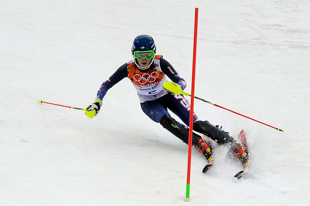 Description of . American Mikaela Shiffrin skis during ladies' slalom run 1. Sochi 2014 Winter Olympics on Friday, February 21, 2014 at Rosa Khutor Alpine Center. (Photo by AAron Ontiveroz/ The Denver Post)