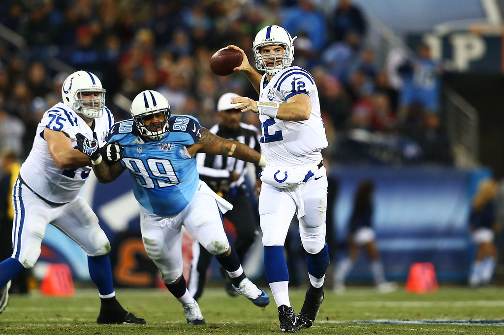 Description of . Andrew Luck #12 of the Indianapolis Colts looks to pass in the second quarter against the Tennessee Titans at LP Field on November 14, 2013 in Nashville, Tennessee.  (Photo by Andy Lyons/Getty Images)