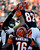Cincinnati Bengals wide receiver Marvin Jones (82) celebrates after scoring on an 11-yard pass reception in the first half of an NFL football game against the Baltimore Ravens, Sunday, Dec. 30, 2012, in Cincinnati. (AP Photo/Michael Keating)