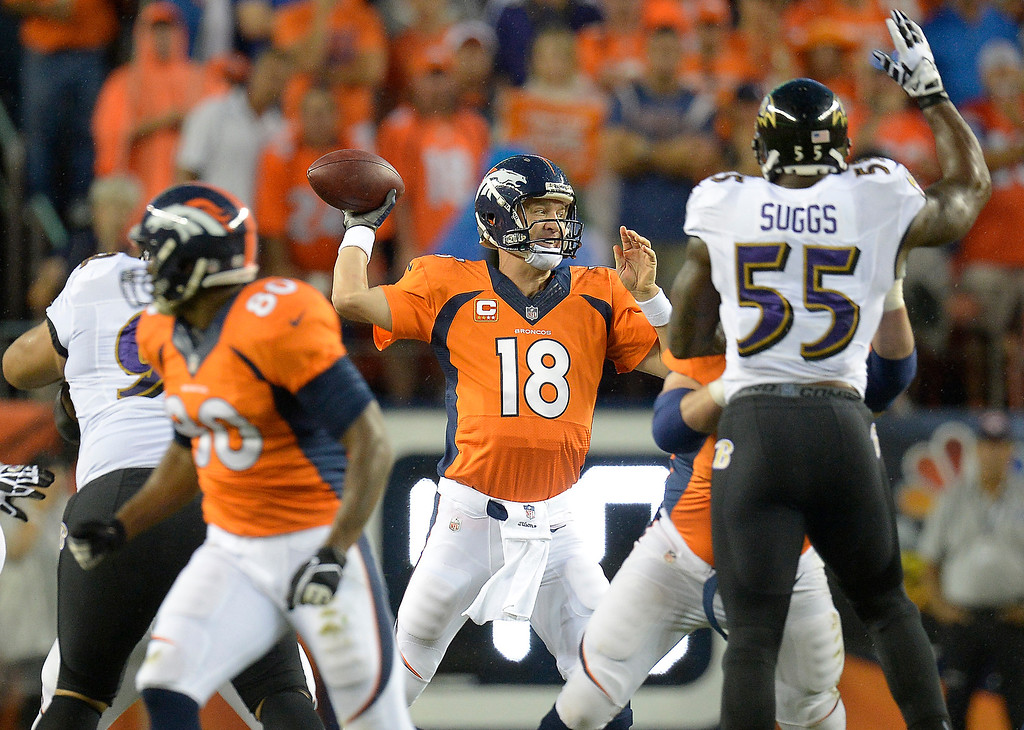 Description of . Denver Broncos quarterback Peyton Manning (18) passes from the line during the first quarter. (Photo by John Leyba/The Denver Post)