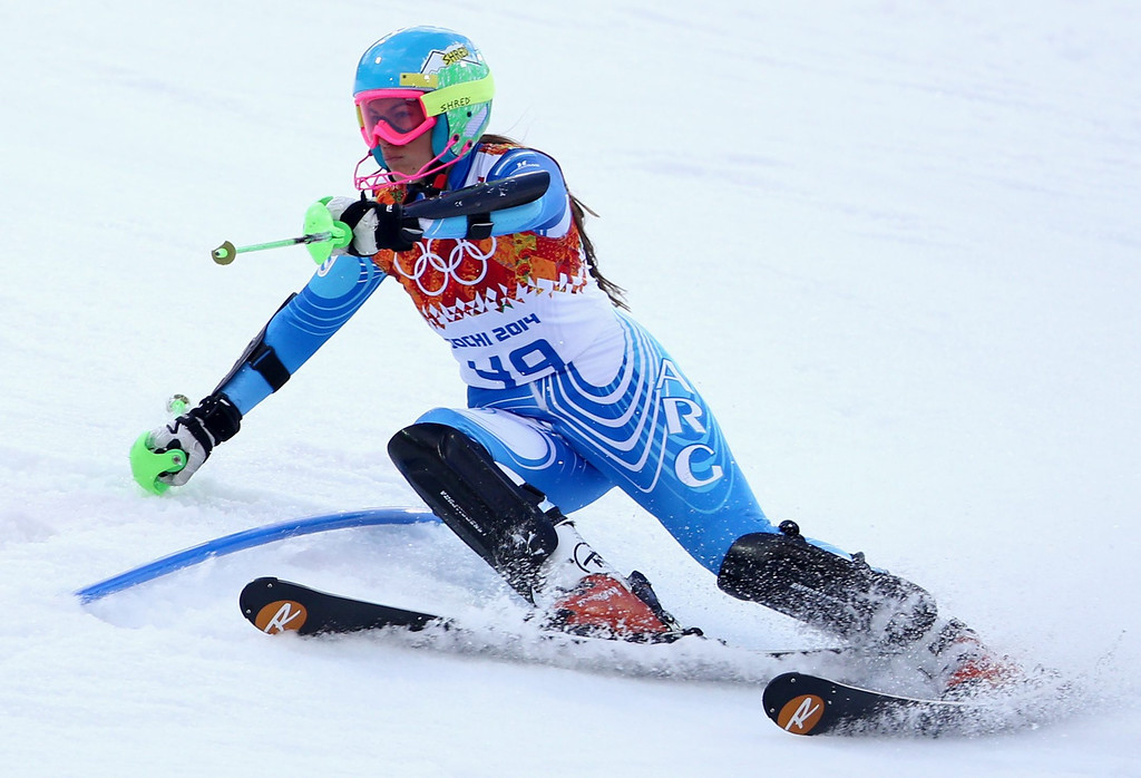 Description of . Salome Bancora of Argentina in action during the first run of the Women's Slalom race at the Rosa Khutor Alpine Center during the Sochi 2014 Olympic Games, Krasnaya Polyana, Russia, 21 February 2014.  EPA/KARL-JOSEF HILDENBRAND