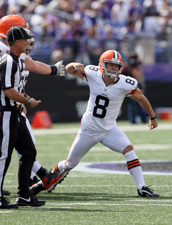 Description of . Kicker Billy Cundiff #8 of the Cleveland Browns reacts after hitting a second quarter field goal against the Baltimore Ravens at M&T Bank Stadium on September 15, 2013 in Baltimore, Maryland.  (Photo by Rob Carr/Getty Images)