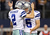 Dan Bailey #5 of the Dallas Cowboys celebrates the game winning field goal with Brian Moorman #2 during overtime against the Pittsburgh Steelers at Cowboys Stadium on December 16, 2012 in Arlington, Texas.  (Photo by Ronald Martinez/Getty Images)