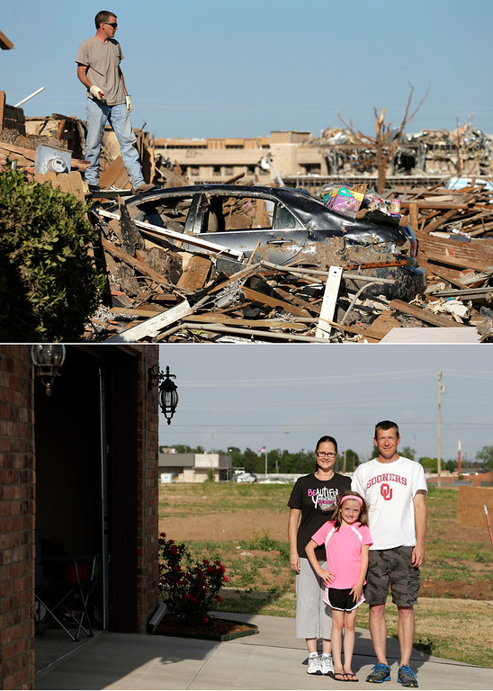 Description of . In this photo combination, Ben Osborne surveys the scene as he sorts through his tornado-ravaged home on May 22, 2013, in Moore, Okla., top, and Osborne stands for a photo with his wife Deidra and daughter Hannah, May 8, 2014, on the site where Deidra rode out the storm in shelter with 13 of her neighbors. (AP Photo/Charlie Riedel)