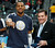 Denver Nuggets guard Andre Iguodala  shows off his ring for being a member of the 2012 U.S. Olympic basketball team, after it was presented by Jim Tooley, executive director of USA Basketball, before the Nuggets played the Boston Celtics in an NBA basketball game in Denver on Tuesday, Feb. 19, 2013. (AP Photo/David Zalubowski)